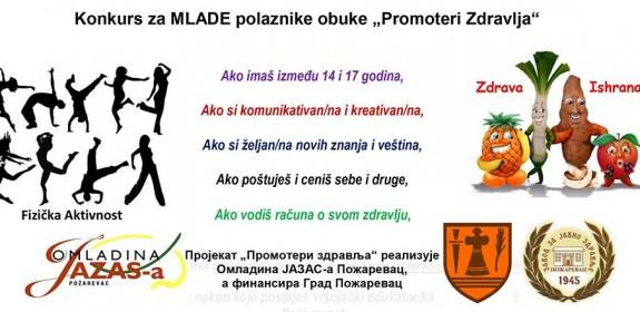 "Konkurs za MLADE polaznike obuke ""Promoteri Zdravlja"""